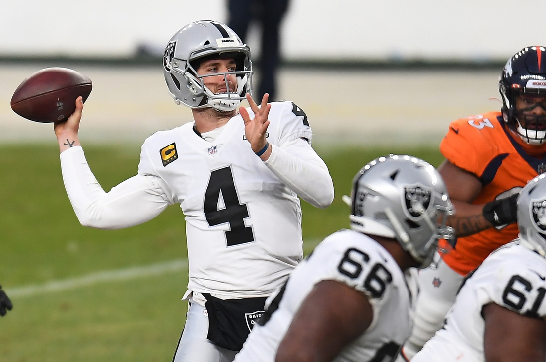 Jan 3, 2021; Denver, Colorado, USA; Las Vegas Raiders quarterback Derek Carr (4) throws a pass against the Denver Broncos during the second quarter at Empower Field at Mile High. Mandatory Credit: Ron Chenoy-USA TODAY Sports