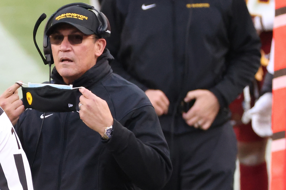 Dec 20, 2020; Landover, Maryland, USA; Washington Football Team head coach Ron Rivera looks on from the sidelines against the Seattle Seahawks at FedExField. Mandatory Credit: Geoff Burke-USA TODAY Sports