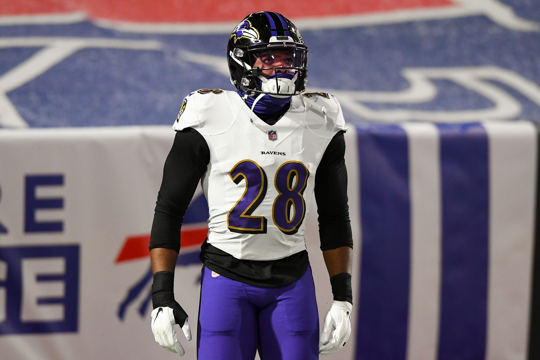 Jan 16, 2021; Orchard Park, New York, USA; Baltimore Ravens free safety Jordan Richards (28) prior to an AFC Divisional Round game against the Buffalo Bills at Bills Stadium. Mandatory Credit: Rich Barnes-USA TODAY Sports