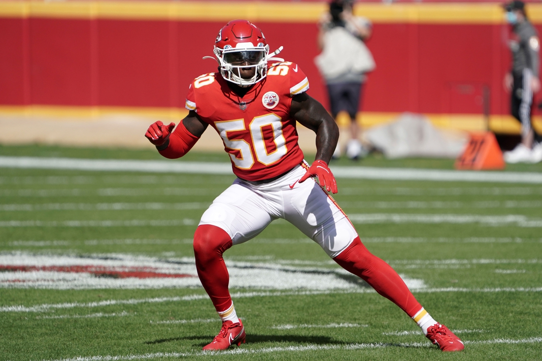 Oct 11, 2020; Kansas City, Missouri, USA; Kansas City Chiefs linebacker Willie Gay Jr. (50) in the first half against the Las Vegas Raiders at Arrowhead Stadium The Raiders defeated the Chiefs 40-22. Mandatory Credit: Kirby Lee-USA TODAY Sports