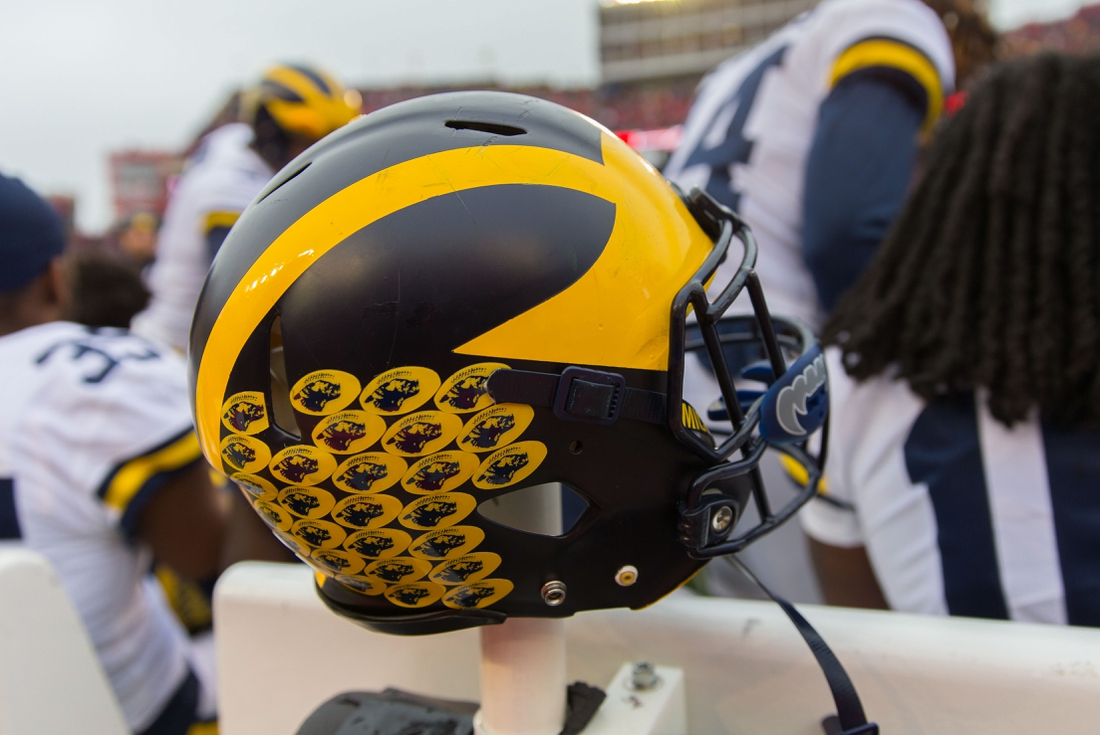 Nov 18, 2017; Madison, WI, USA; An Michigan Wolverines helmet during the game against the Wisconsin Badgers at Camp Randall Stadium. Mandatory Credit: Jeff Hanisch-USA TODAY Sports