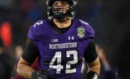 Dec 29, 2017; Nashville, TN, USA; Northwestern Wildcats linebacker Paddy Fisher (42) leaves the field after being ejected for targeting during the first half against the Kentucky Wildcats in the 2017 Music Bowl at Nissan Stadium. Mandatory Credit: Christopher Hanewinckel-USA TODAY Sports