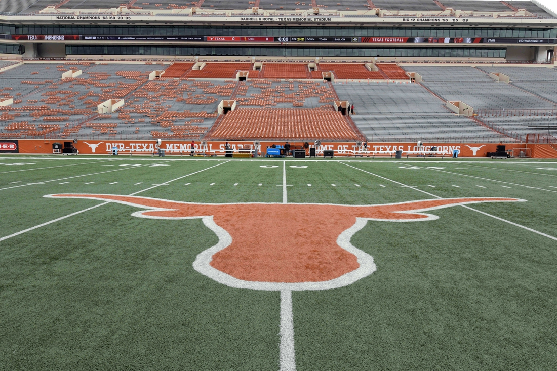 Sep 15, 2018; Austin, TX, USA; General overall view of the Texas Longhorns logo at midfield at Darrell K Royal-Texas Memorial Stadium. Mandatory Credit: Kirby Lee-USA TODAY Sports