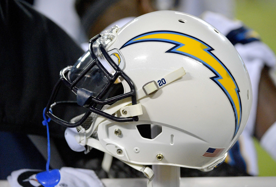 Dec 13, 2018; Kansas City, MO, USA; A general view of a Los Angeles Chargers helmet during the game against the Kansas City Chiefs at Arrowhead Stadium. The Chargers won 29-28. Mandatory Credit: Denny Medley-USA TODAY Sports