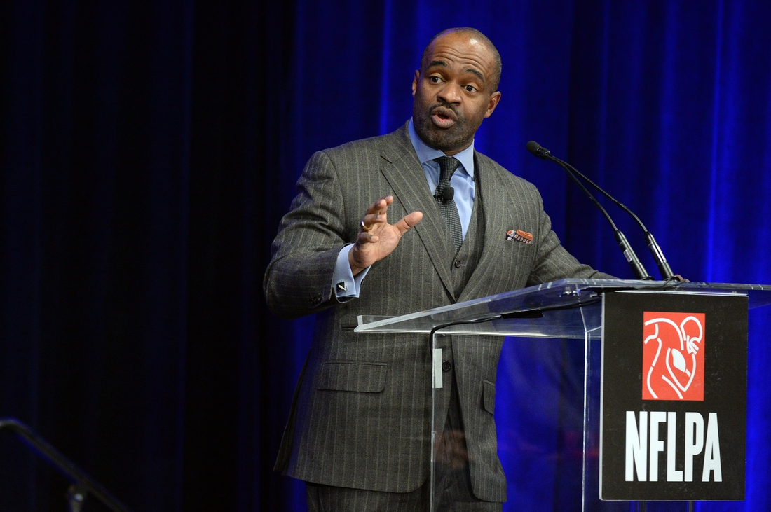 Jan 31, 2019; Atlanta, GA, USA; NFLPA executive director DeMaurice Smith speaks during the NFLPA press conference in advance of the Super Bowl LIII where the New England Patriots will play the Los Angeles Rams on Feb. 3, 2019 at Mercedes_Benz Stadium.  Mandatory Credit: John David Mercer-USA TODAY Sports