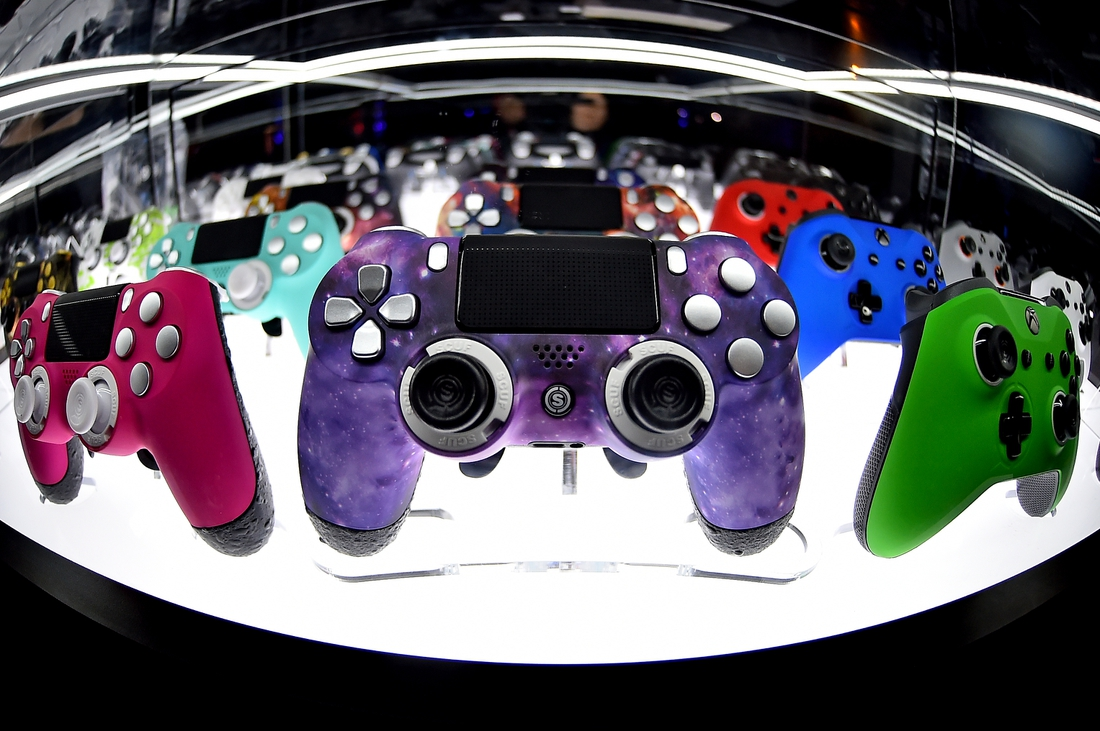 Jul 21, 2019; Miami Beach, FL, USA; A general view of gaming controllers on display during the Call of Duty League Finals e-sports event at Miami Beach Convention Center. Mandatory Credit: Jasen Vinlove-USA TODAY Sports