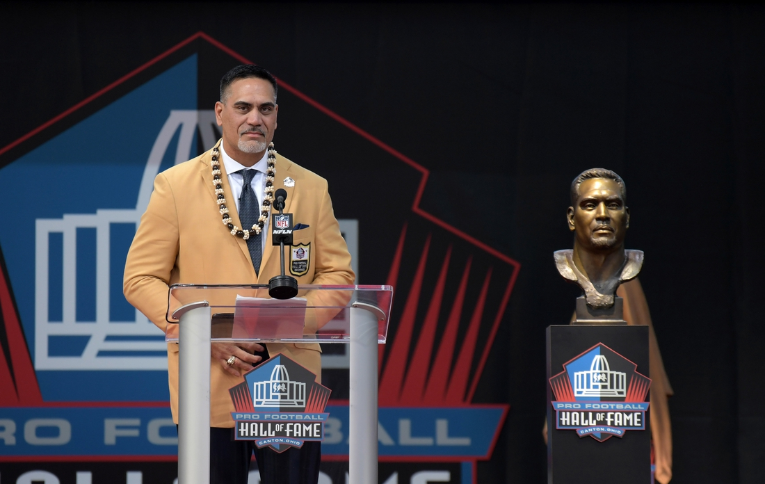 Aug 3, 2019; Canton, OH, USA; Kevin Mawae speaks during the Pro Football Hall of Fame Enshrinement at Tom Benson Hall of Fame Stadium. Mandatory Credit: Kirby Lee-USA TODAY Sports