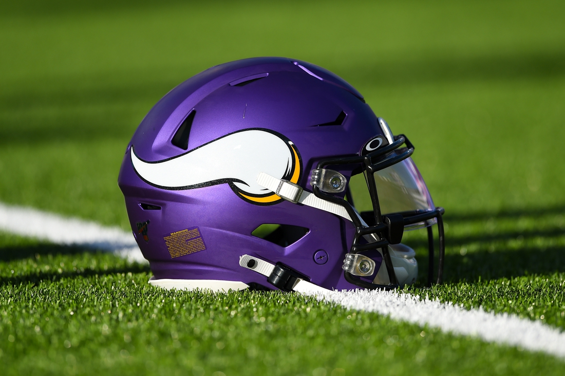 Aug 29, 2019; Orchard Park, NY, USA; General view of a Minnesota Vikings helmet prior to the game against the Buffalo Bills at New Era Field. Mandatory Credit: Rich Barnes-USA TODAY Sports