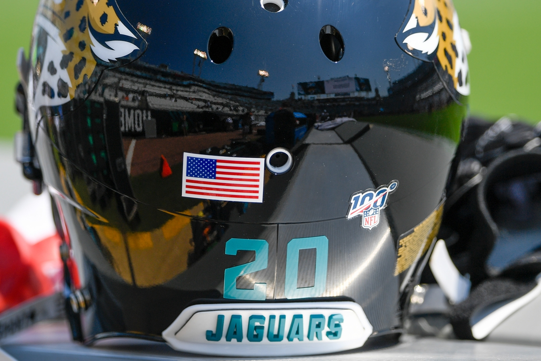 Sep 8, 2019; Jacksonville, FL, USA; General view of Jacksonville Jaguars cornerback Jalen Ramsey (20) helmet on the bench prior to the game between the Jacksonville Jaguars and the Kansas City Chiefs at TIAA Bank Field. Mandatory Credit: Douglas DeFelice-USA TODAY Sports
