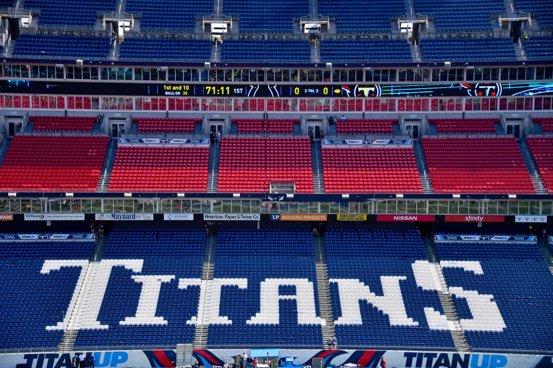 Sep 15, 2019; Nashville, TN, USA; A general view of the Titans logo inside Nissan Stadium prior to the game between the Tennessee Titans and the Indianapolis Colts. Mandatory Credit: Jim Brown-USA TODAY Sports