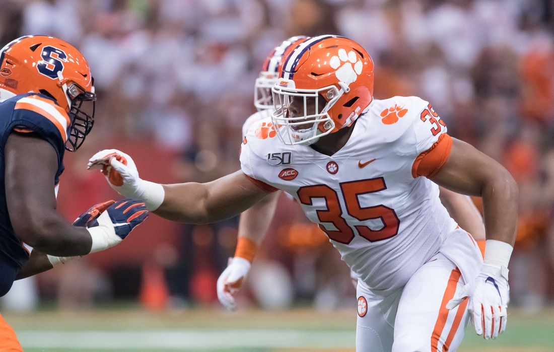 Sep 14, 2019; Syracuse, NY, USA; Clemson Tigers defensive end Justin Foster (35) rushes a Syracuse Orange lineman during the first quarter at the Carrier Dome. Mandatory Credit: Mark Konezny-USA TODAY Sports