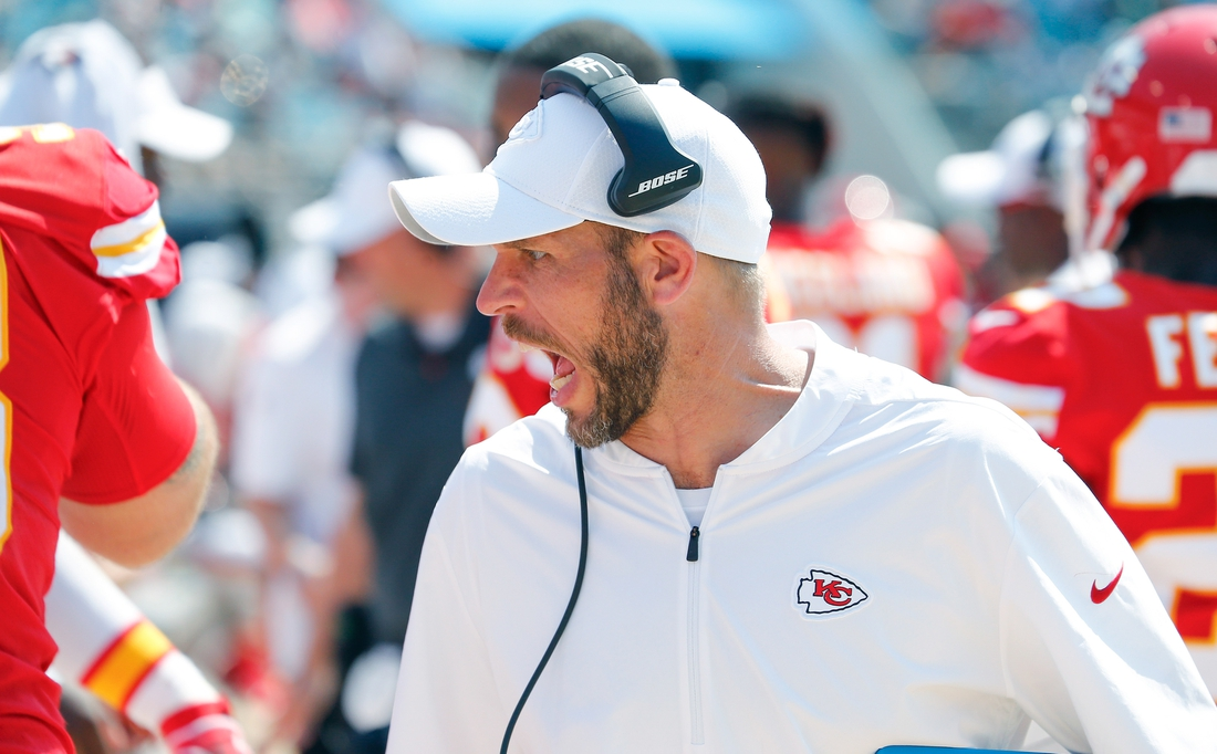Sep 8, 2019; Jacksonville, FL, USA; Kansas City Chiefs linebackers coach Britt Reid talks to his players during the second half against the Jacksonville Jaguars at TIAA Bank Field. Mandatory Credit: Reinhold Matay-USA TODAY Sports