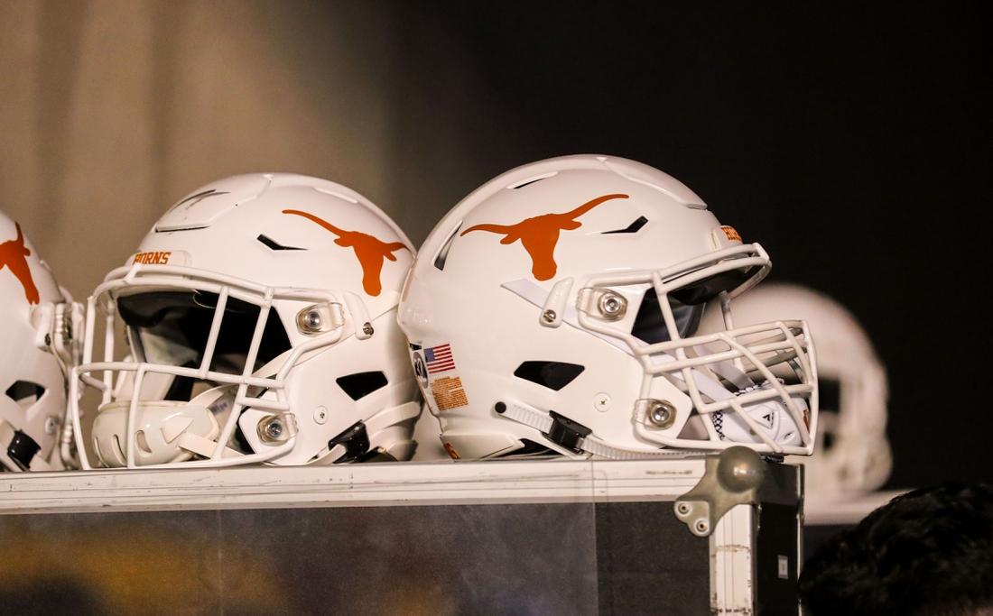 Oct 5, 2019; Morgantown, WV, USA; Texas Longhorns helmets sit in the tunnel at Mountaineer Field at Milan Puskar Stadium. Mandatory Credit: Ben Queen-USA TODAY Sports