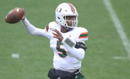 Oct 26, 2019; Pittsburgh, PA, USA;   Miami Hurricanes quarterback N'Kosi Perry (5) passes against the Pittsburgh Panthers during the third quarter at Heinz Field. Miami won 16-12. Mandatory Credit: Charles LeClaire-USA TODAY Sports
