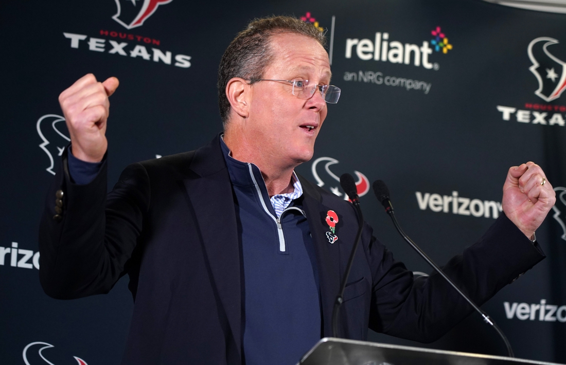 Nov 1, 2019; Sunbury on Thames, United Kingdom; Houston Texans president Jamey Rootes speaks at press conference at the London Irish Training ground at the Hazelwood Centre. Mandatory Credit: Kirby Lee-USA TODAY Sports