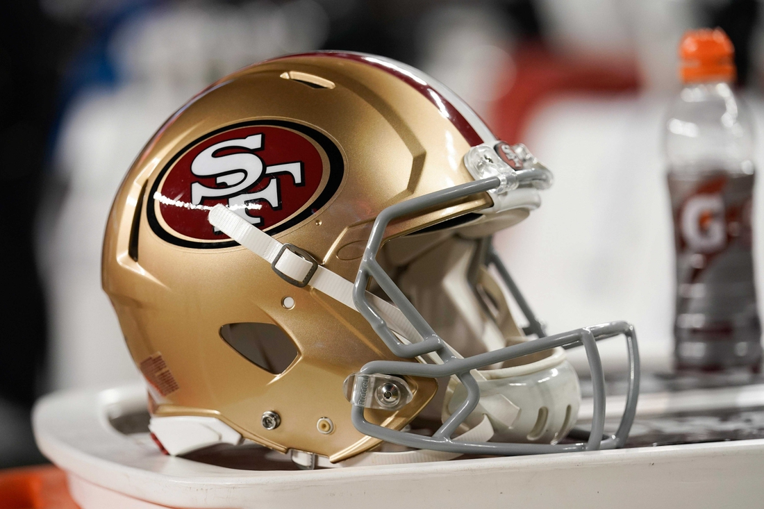 Nov 24, 2019; Santa Clara, CA, USA; General view of the helmet for the San Francisco 49ers in the game against the Green Bay Packers during the second quarter at Levi's Stadium. Mandatory Credit: Stan Szeto-USA TODAY Sports