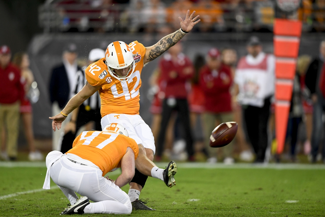 Jan 2, 2020; Jacksonville, Florida, USA; Tennessee Volunteers place kicker Brent Cimaglia (42) kicks a field goal during the second quarter against the Indiana Hoosiers at TIAA Bank Field. Mandatory Credit: Douglas DeFelice-USA TODAY Sports