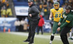 Jan 11, 2020; Frisco, Texas, USA; North Dakota State Bison head coach Matt Entz reacts to a touchdown on a fake field goal in the second quarter against the James Madison Dukes at Toyota Stadium. Mandatory Credit: Tim Heitman-USA TODAY Sports