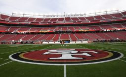 Jan 19, 2020; Santa Clara, California, USA;  A general view of the 49ers  logo on the field before the NFC Championship Game between the San Francisco 49ers and Green Bay Packers at Levi's Stadium. Mandatory Credit: Kirby Lee-USA TODAY Sports