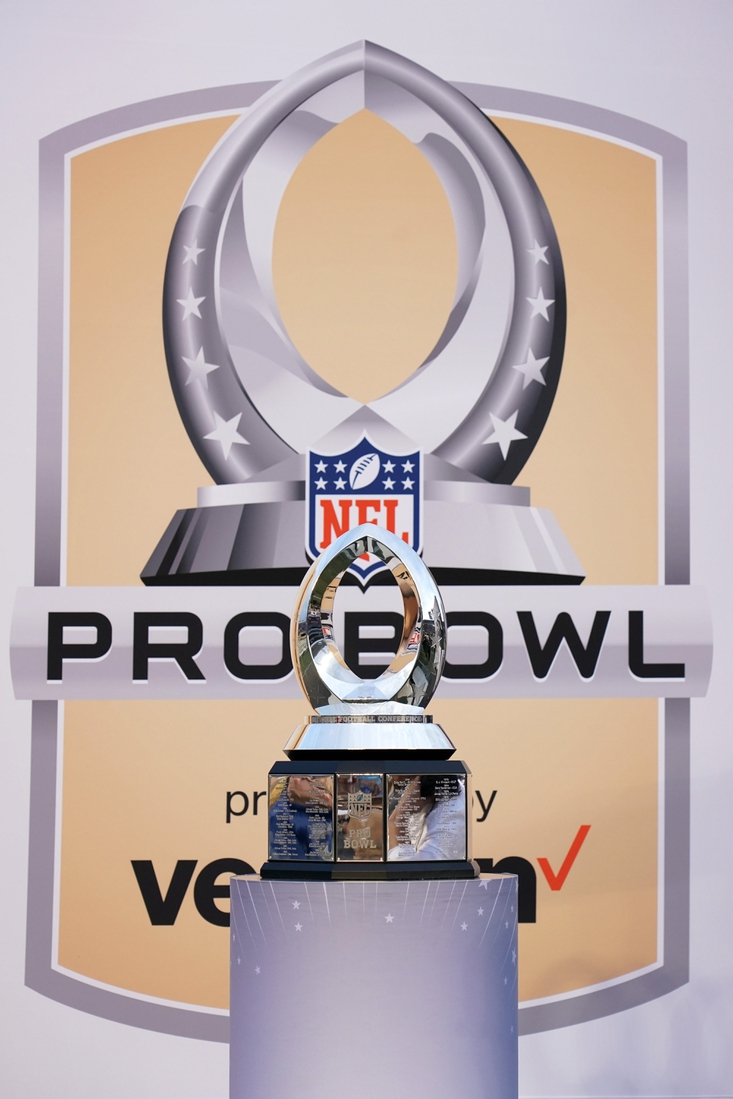 Jan 26, 2020; Orlando, Florida, USA; Detailed view of the Pro Bowl trophy at the 2020 NFL Pro Bowl at Camping World Stadium. The AFC defeated the NFC 38-33.  Mandatory Credit: Kirby Lee-USA TODAY Sports