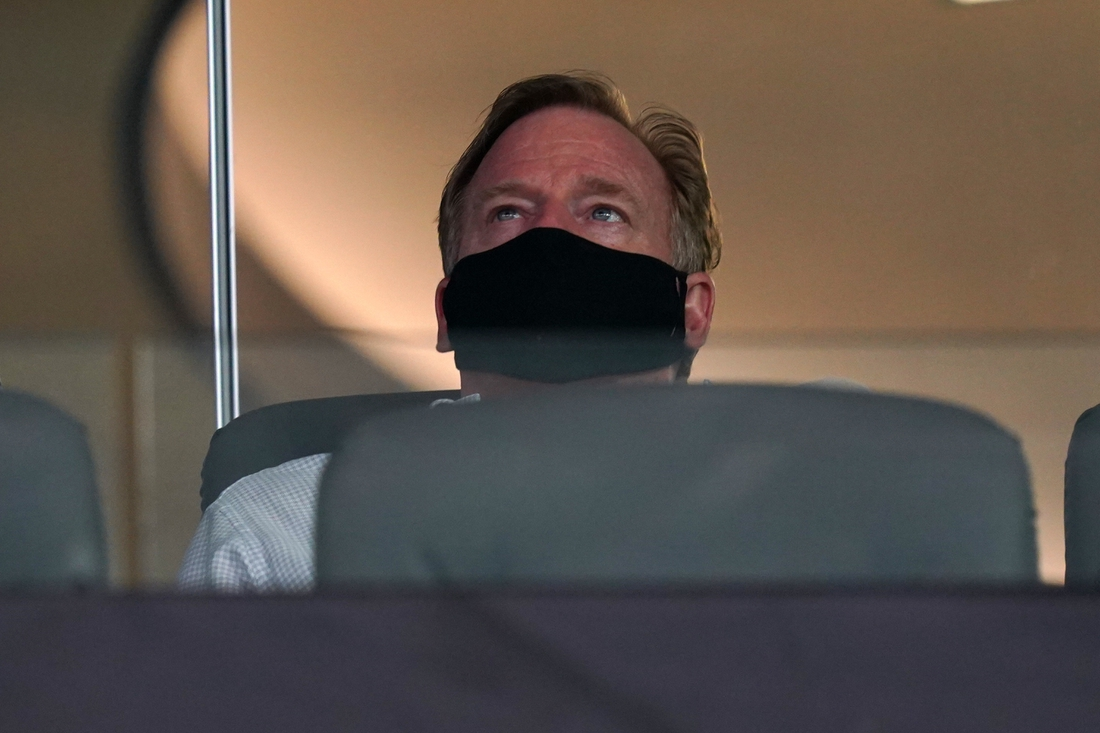 Sep 13, 2020; Inglewood, California, USA;  NFL commissioner Roger Goodell wears a face mask during the game between the Dallas Cowboys and the Los Angeles Rams at SoFi Stadium. The Rams defeated the Cowoboys 20-17.  Mandatory Credit: Kirby Lee-USA TODAY Sports