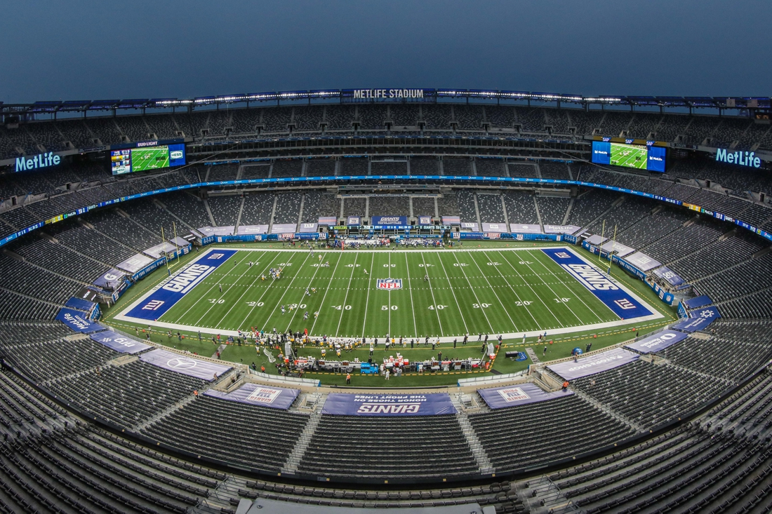 Sep 14, 2020; East Rutherford, New Jersey, USA; A general view of MetLife Stadium during the first quarter of the game between the New York Giants and the Pittsburgh Steelers. Mandatory Credit: Vincent Carchietta-USA TODAY Sports