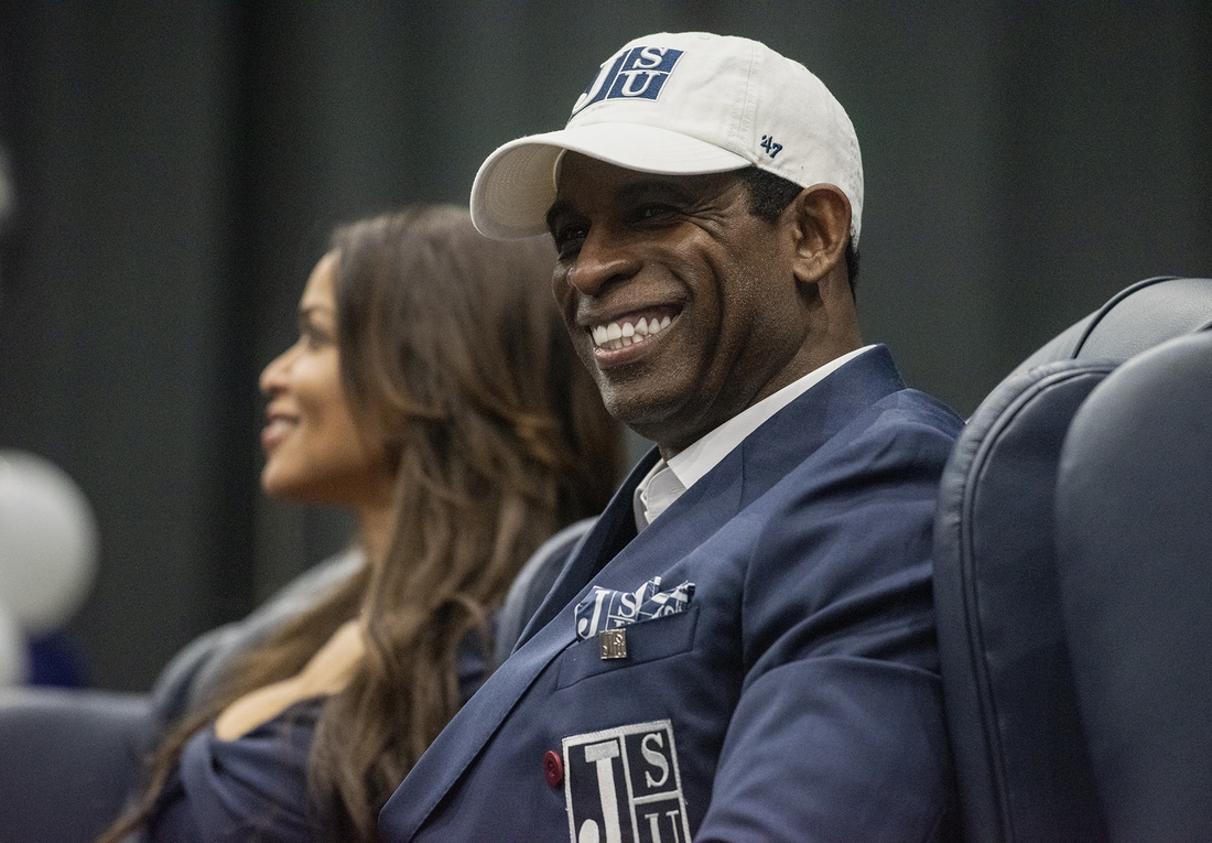 Sep 21, 2020; Jackson, MS, USA; Deion Sanders smiles as he is introduced as Jackson State's head football coach at the Lee E. Williams Athletics and Assembly Center at JSU Monday, September 21, 2020. Mandatory Credit: Eric Shelton/Clarion Ledger-USA TODAY NETWORK
