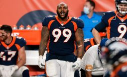 Sep 14, 2020; Denver, Colorado, USA; Denver Broncos defensive end Jurrell Casey (99) in the fourth quarter against the Tennessee Titans at Empower Field at Mile High. Mandatory Credit: Isaiah J. Downing-USA TODAY Sports