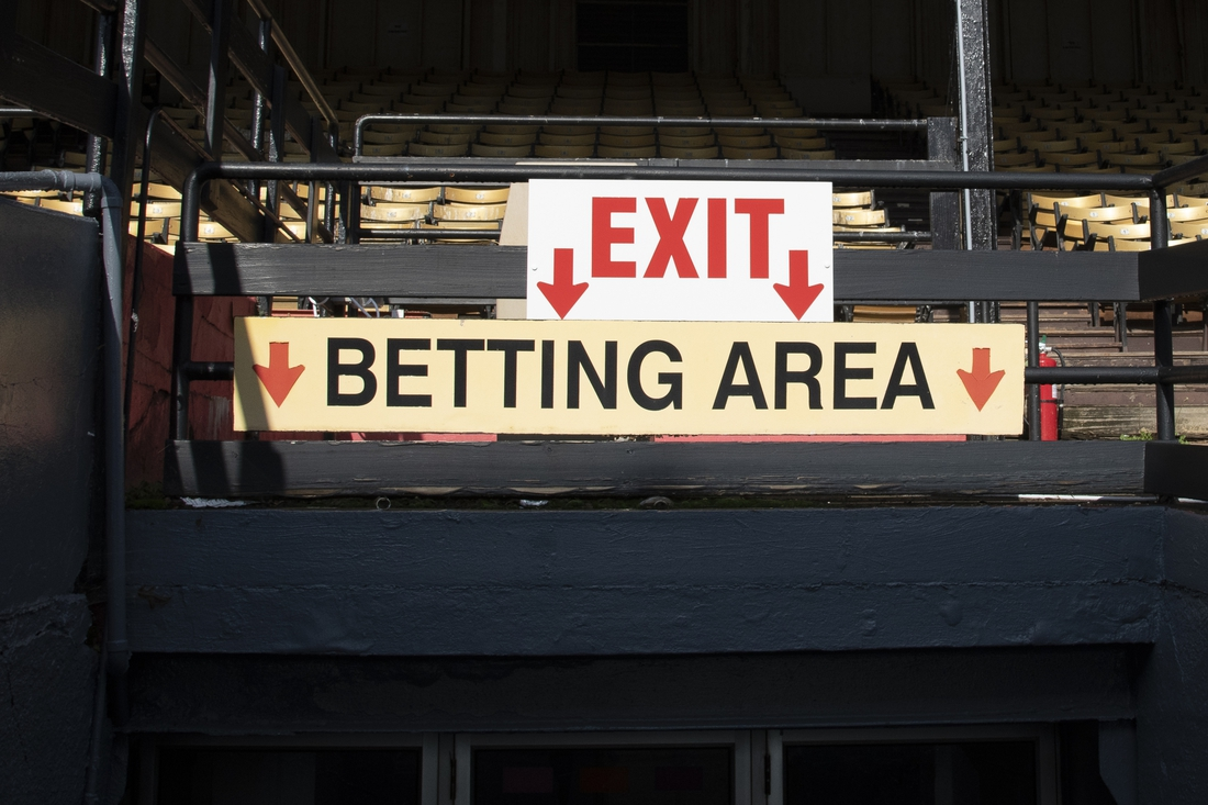 Oct 2, 2020; Baltimore, Maryland, USA;  A view of the Betting Area sign at Pimlico Race Course. Mandatory Credit: Tommy Gilligan-USA TODAY Sports
