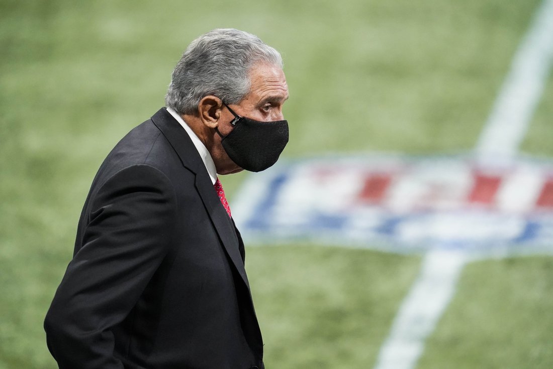 Oct 11, 2020; Atlanta, Georgia, USA; Atlanta Falcons team owner Arthur Blank on the field during the game against the Carolina Panthers during the fourth quarter  at Mercedes-Benz Stadium. Mandatory Credit: Dale Zanine-USA TODAY Sports