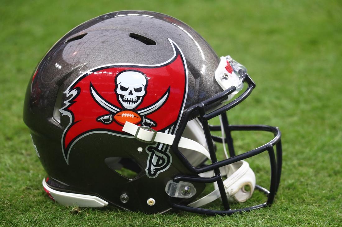Oct 25, 2020; Paradise, Nevada, USA; Detailed view of a Tampa Bay Buccaneers helmet against the Las Vegas Raiders at Allegiant Stadium. Mandatory Credit: Mark J. Rebilas-USA TODAY Sports