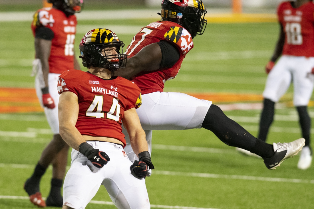 Oct 30, 2020; College Park, Maryland, USA;    Maryland Terrapins linebacker Chance Campbell (44) reacts after the play during the fourth quarter against the Maryland Terrapins A  quarter at Capital One Field at Maryland Stadium. Mandatory Credit: Tommy Gilligan-USA TODAY Sports