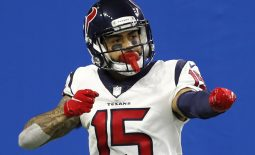 Nov 26, 2020; Detroit, Michigan, USA; Houston Texans wide receiver Will Fuller (15) celebrates after scoring a touchdown during the fourth quarter against the Detroit Lions at Ford Field. Mandatory Credit: Raj Mehta-USA TODAY Sports