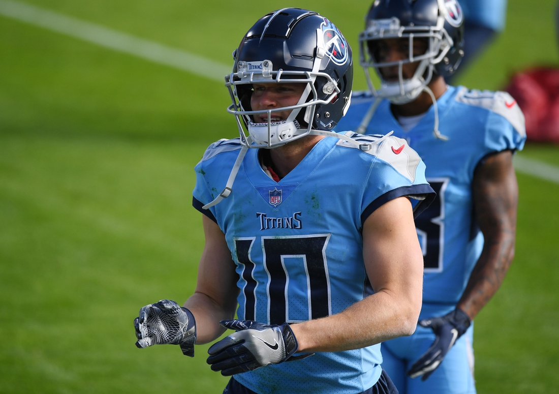 Dec 6, 2020; Nashville, Tennessee, USA; Tennessee Titans wide receiver Adam Humphries (10) before the game against the Cleveland Browns at Nissan Stadium. Mandatory Credit: Christopher Hanewinckel-USA TODAY Sports