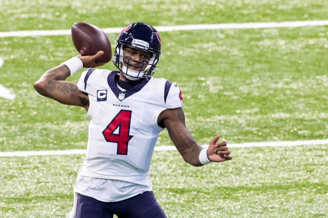 Dec 20, 2020; Indianapolis, Indiana, USA; Houston Texans quarterback Deshaun Watson (4) passes the ball against the Indianapolis Colts in the first half at Lucas Oil Stadium. Mandatory Credit: Trevor Ruszkowski-USA TODAY Sports