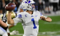 Dec 22, 2020; Boca Raton, Florida, USA; Brigham Young Cougars quarterback Zach Wilson (1) attempts a pass against the UCF Knights during the first half at FAU Stadium. Mandatory Credit: Jasen Vinlove-USA TODAY Sports