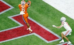 Jan 1, 2021; New Orleans, LA, USA; Clemson Tigers linebacker Mike Jones Jr. (6) intercepts a pass intended for Ohio State Buckeyes wide receiver Chris Olave (2) during the third quarter at Mercedes-Benz Superdome. Mandatory Credit: Russell Costanza-USA TODAY Sports