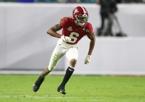 Jan 11, 2021; Miami Gardens, Florida, USA; Alabama Crimson Tide wide receiver DeVonta Smith (6) against the Ohio State Buckeyes in the 2021 College Football Playoff National Championship Game. Mandatory Credit: Mark J. Rebilas-USA TODAY Sports