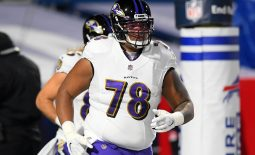 Jan 16, 2021; Orchard Park, New York, USA; Baltimore Ravens offensive tackle Orlando Brown (78) jogs on the field prior to an AFC Divisional Round game against the Buffalo Bills at Bills Stadium. Mandatory Credit: Rich Barnes-USA TODAY Sports