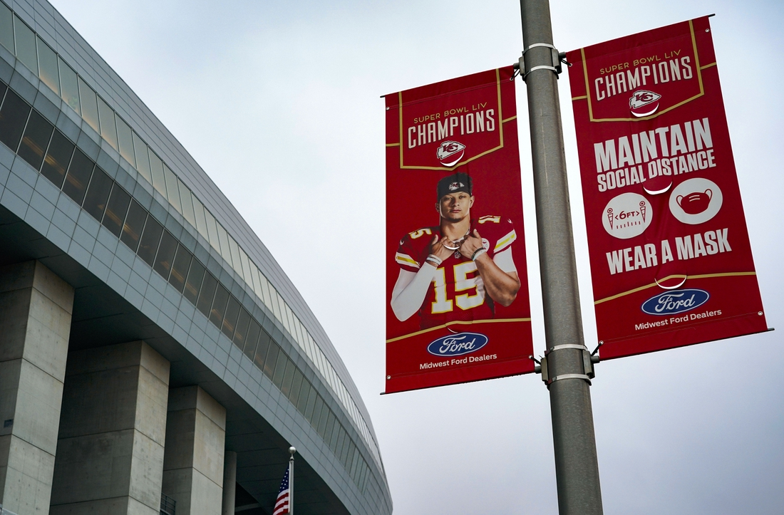 Jan 24, 2021; Kansas City, Missouri, USA; A sign featuring Kansas City Chiefs quarterback Patrick Mahomes (15) with COVID-19 protocol is seen before the AFC Championship Game against the Buffalo Bills at Arrowhead Stadium. Mandatory Credit: Jay Biggerstaff-USA TODAY Sports