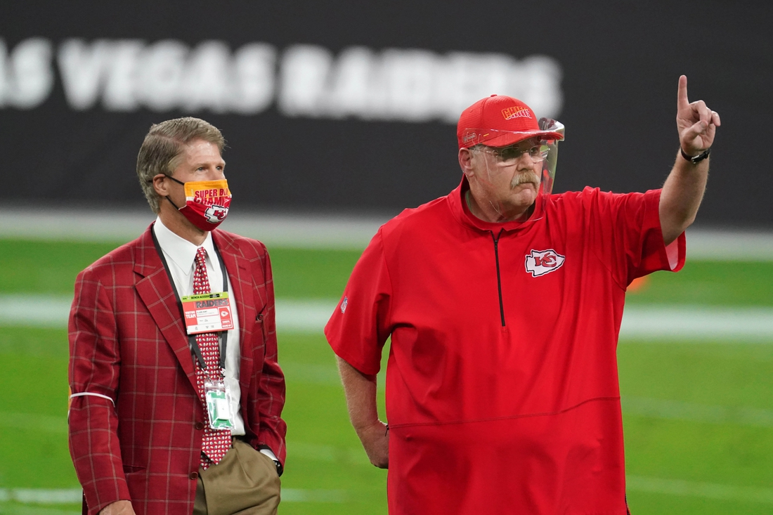 Nov 22, 2020; Paradise, Nevada, USA; Kansas City Chiefs owner Clark Hunt (left) talks with coach Andy Reid during the game against the Las Vegas Raiders at Allegiant Stadium. Mandatory Credit: Kirby Lee-USA TODAY Sports