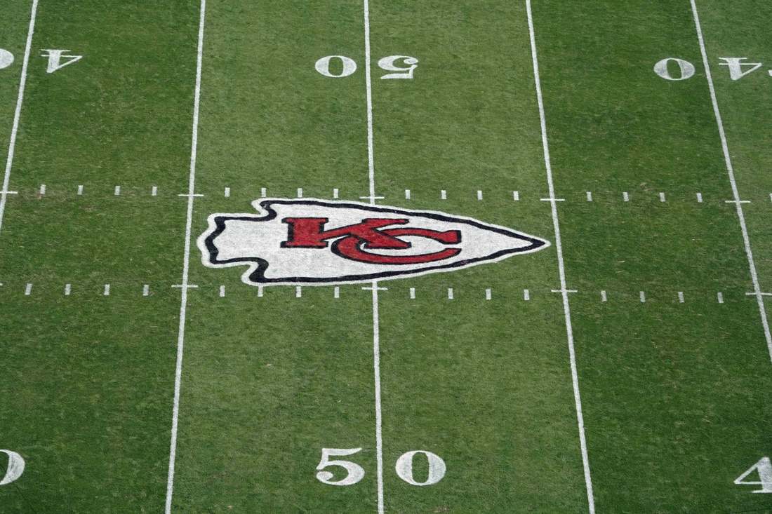 Oct 11, 2020; Kansas City, Missouri, USA; A general view of the Kansas City Chiefs  logo at midfield during the game against the Las Vegas Raiders at Arrowhead Stadium Mandatory Credit: Kirby Lee-USA TODAY Sports