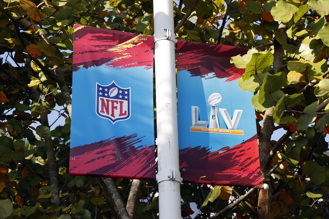 Jan 31, 2021; Tampa, Florida, USA; A general view of signage for Super Bowl  LV at downtown Tampa Mandatory Credit: Kim Klement-USA TODAY Sports