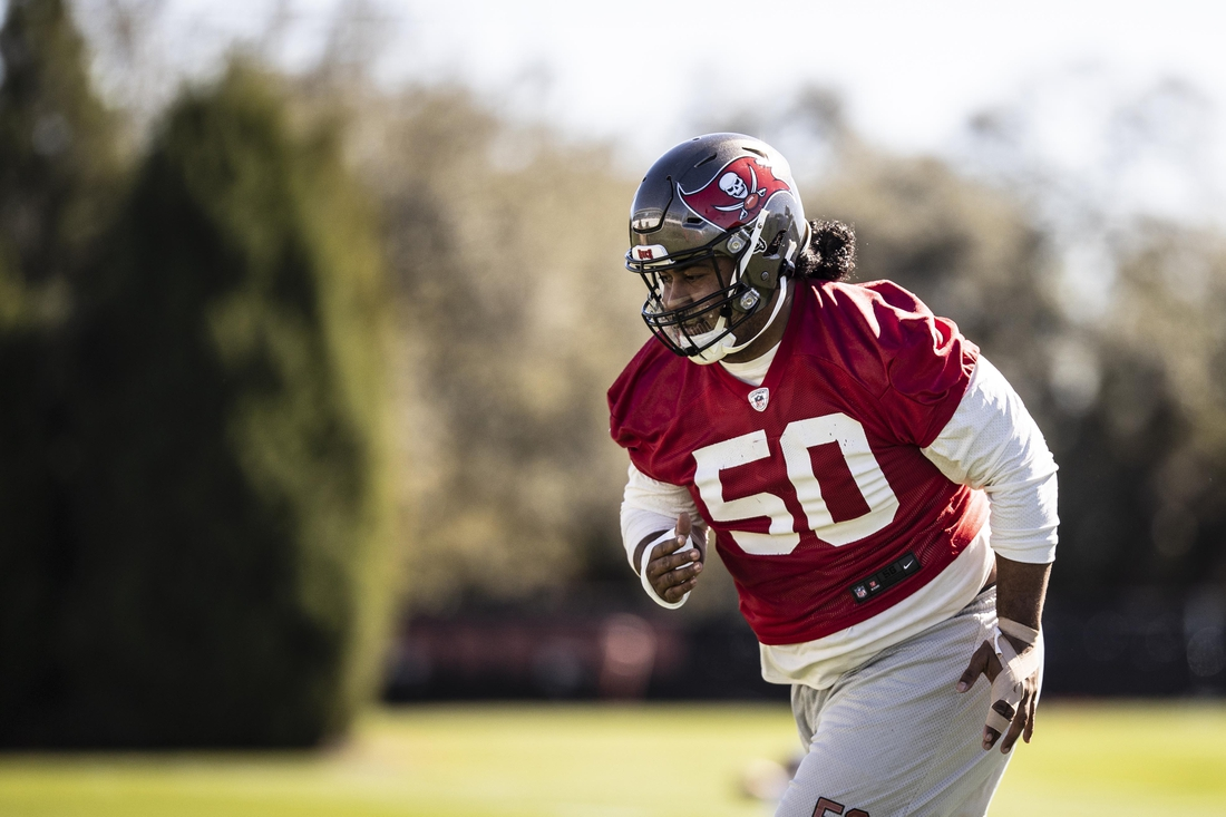 Feb 3, 2021; Tampa, FL, USA; Tampa Bay Buccaneers defensive tackle Vita Vea during NFL football practice, Wednesday, Feb. 3, 2021 in Tampa, Fla. The Buccaneers will face the Kansas City Chiefs in Super Bowl 55.  Mandatory Credit: Kyle Zedaker/Handout Photo via USA TODAY Sports