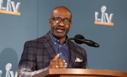 Feb 4, 2021; Tampa, FL, USA; NFLPA executive director DeMaurice Smith speaks during a press conference ahead of Super Bowl LV, Thursday, Feb. 4, 2021 in Tampa, Fla. Mandatory Credit: Perry Knotts/Handout Photo via USA TODAY Sports