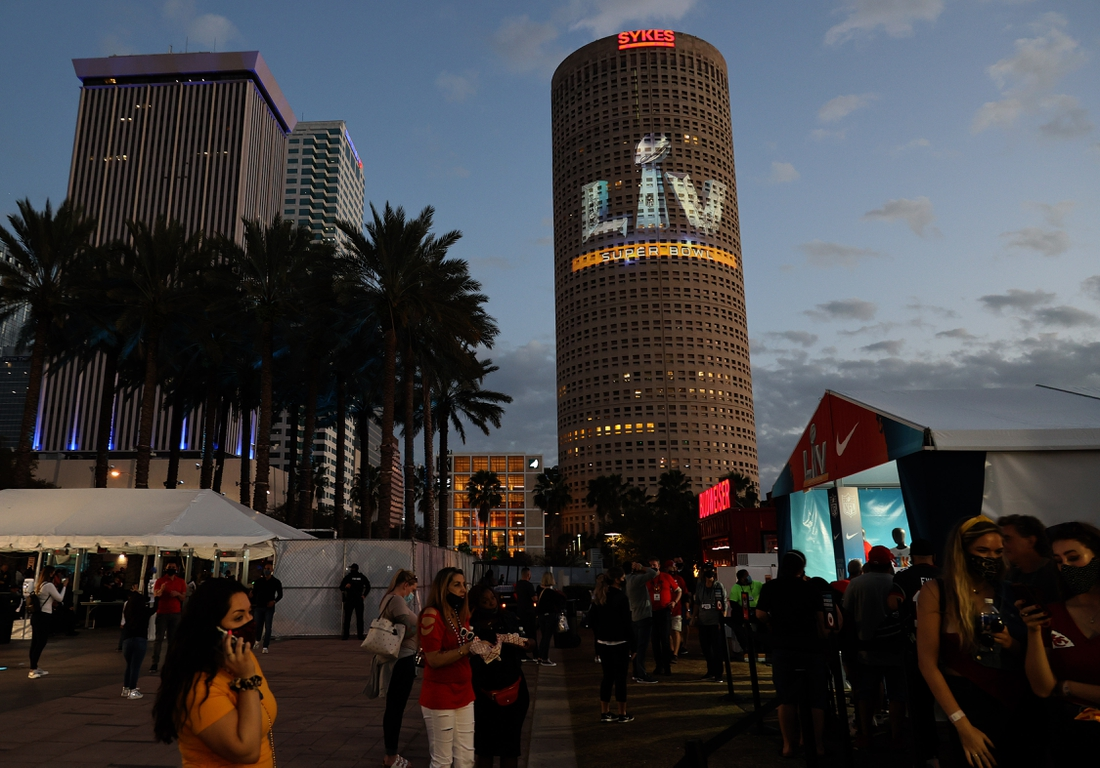 Feb 6, 2021; Tampa, Florida, USA; A general view of the Super Bowl LV logo projected on the Sykes tower in downtown Tampa prior to the game with the Tampa Bay Buccaneers playing against the Kansas City Chiefs. Mandatory Credit: Matthew Emmons-USA TODAY Sports