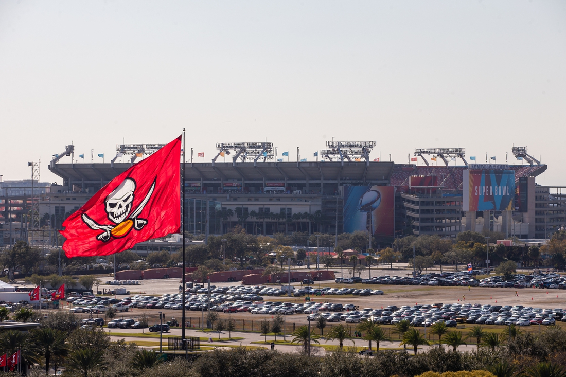 Feb 7, 2021; Tampa, Florida, USA; A general view of the Buccaneers Training Facility and Raymond James Stadium before Super Bowl LV between the Kansas City Chiefs and the Tampa Bay Buccaneers. Mandatory Credit: Mary Holt-USA TODAY Sports