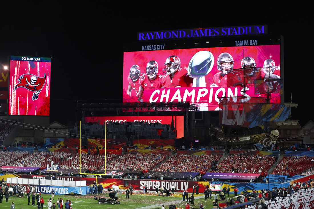 Feb 7, 2020; Tampa, FL, USA; An overall view of Raymond James Stadium after Super Bowl LV.  Mandatory Credit: Kim Klement-USA TODAY Sports