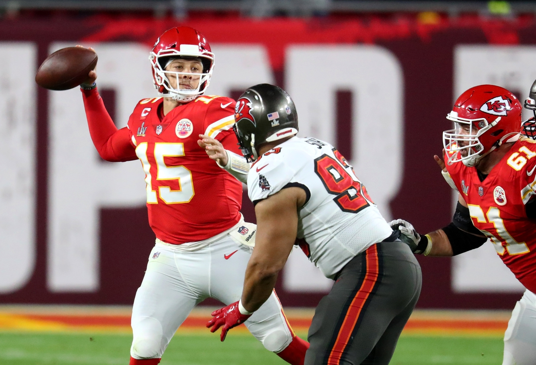 Feb 4, 2021; Tampa, FL, USA;  Kansas City Chiefs quarterback Patrick Mahomes (15) against the Tampa Bay Buccaneers in Super Bowl LV at Raymond James Stadium.  Mandatory Credit: Mark J. Rebilas-USA TODAY Sports