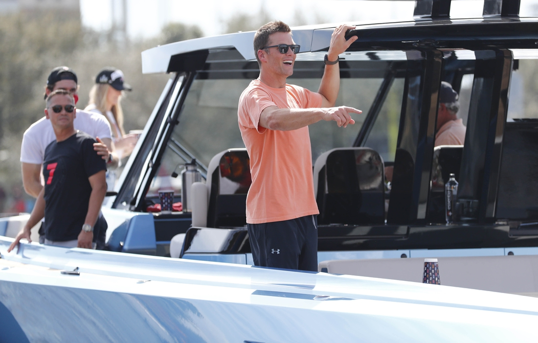 Feb 10, 2021; Tampa Bay, FL, USA; Tampa Bay Buccaneers quarterback Tom Brady during a boat parade to celebrate victory in Super Bowl LV against the Kansas City Chiefs. Mandatory Credit: Kim Klement-USA TODAY Sports
